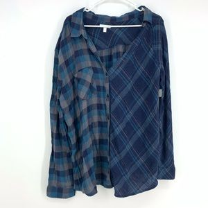 Abound Oversized Two Plaid Print Slouchy Top Sz XL